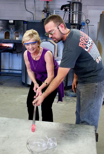 Governor Purdue in the Penland glass studio