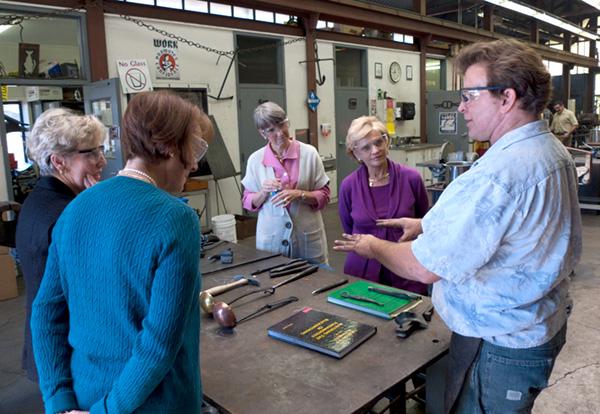 Governor Purdue in the Penland iron studio