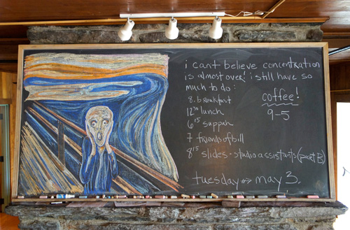 Pines chalkboard, Tuesday, May  3rd.