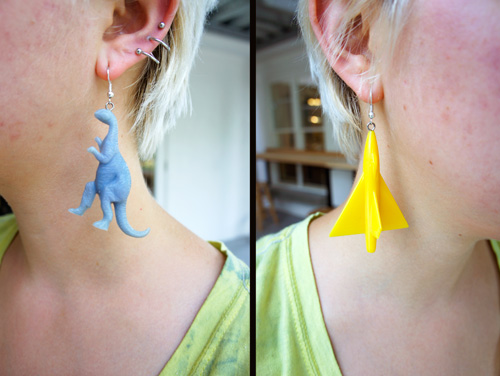 Metals student Rachel Qualliotine's found-object earrings.