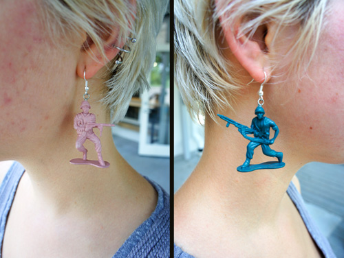 More found-object earrings.