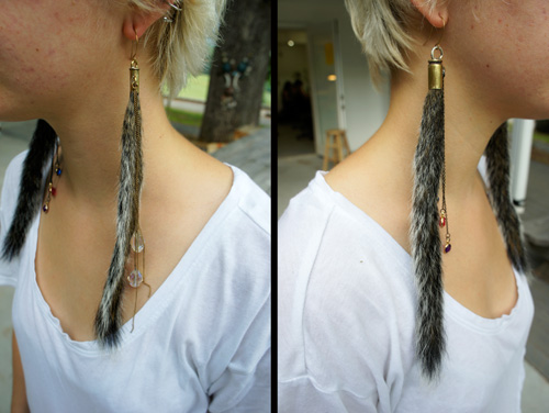 More found-object earrings