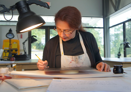 Audrey Niffenegger in the print studio