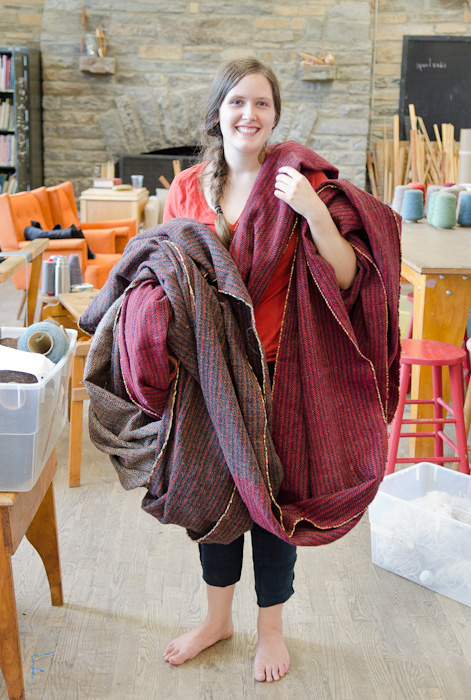 Amy Tromiczak with her tweed cloth at Penland School