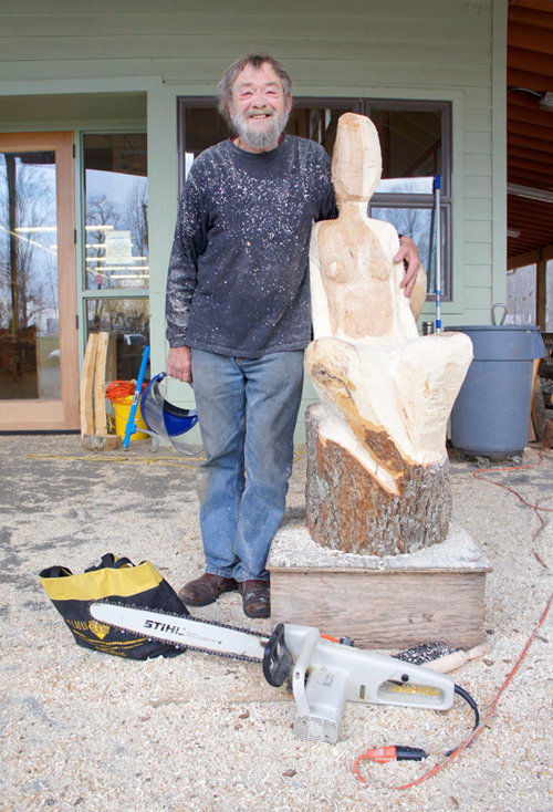 Wood sculptor John Moore