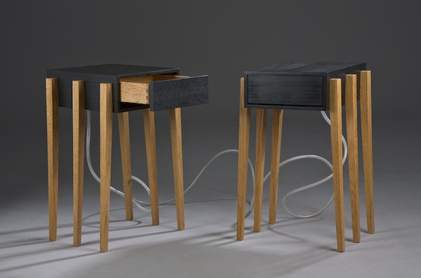 Binary Drawers are a pair of interconnected drawers exploring ideas of negotiation and compromise through furniture. Closing the open drawer of one table opens the drawer of the other. The hydraulic link between the two drawers leaves no way for both to be closed at the same time.