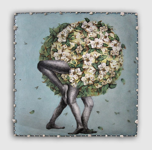 """""""Entangled (Magnolia Grandiflora),"""" enamel on copper, ceramic decals, china paint, sterling silver, 10 x 10 x 2 inches"""