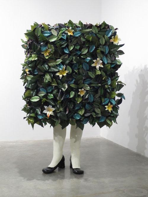 """So Square"", mixed-media sculpture: ceramic, paint, enamel, copper, fiberglass, silk flowers, 4 x 2.5 x 2.5 feet"