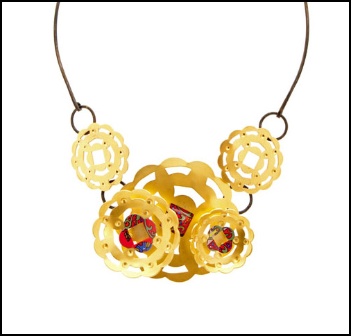"Marlene True, ""Victorian Blossom Necklace;"" steel, lithographed steel, 24k gold plate"