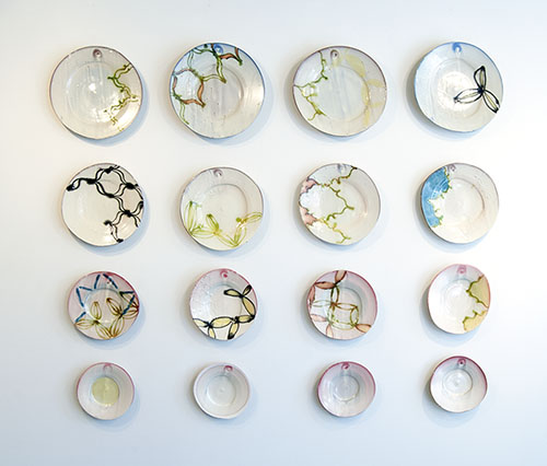 Martina Lantin, Focus Gallery installation of plates, 2013