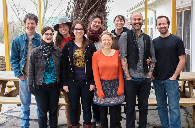 Penland Core Fellows, 2013. Back row (L-R): Will Lentz, Angela Eastman, Audrey Bell, Molly Spadone. Front row: Liz Koerner, Sarah Brown, Rachel Mauser, Zee Boudreaux, Mike Krupiarz.