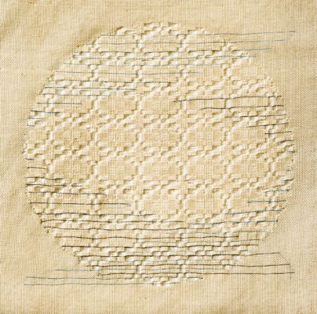 Robin Johnston, Full Worm Moon, handwoven and embroidered cotton