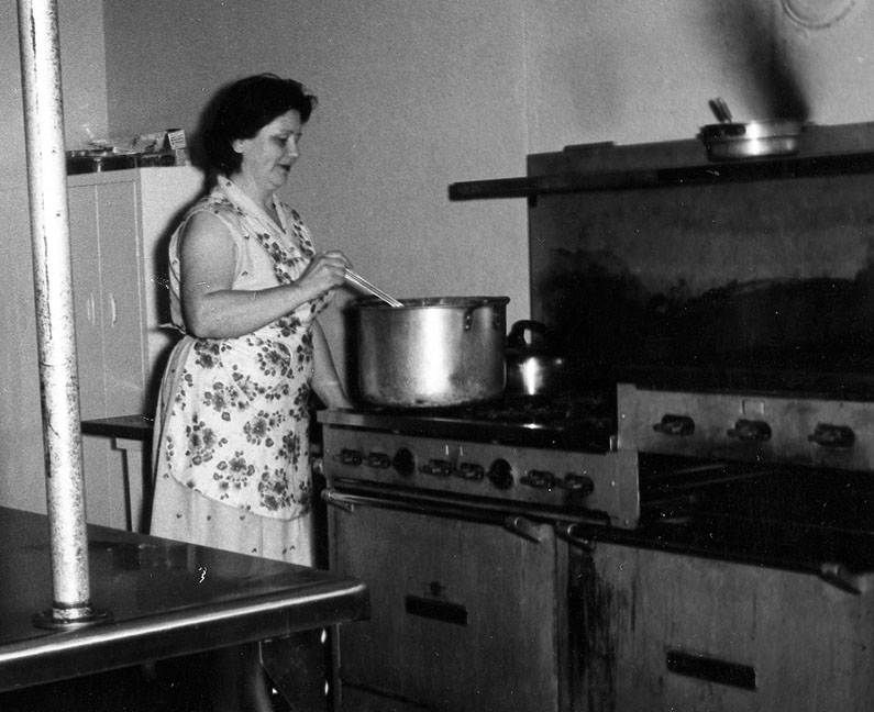 Pearl in the Penland kitchen, back in the day.