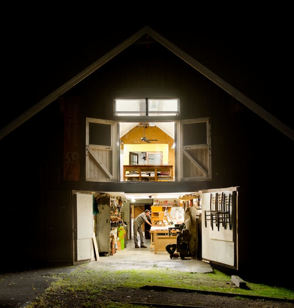 Resident artist Tom Shields working in the barn studio, 2013. Photograph by Robin Dreyer