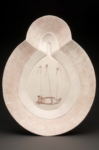 David Eichelberger, platter: bird and kites, earthenware, sgraffito, 3 x 19 x 12 inches