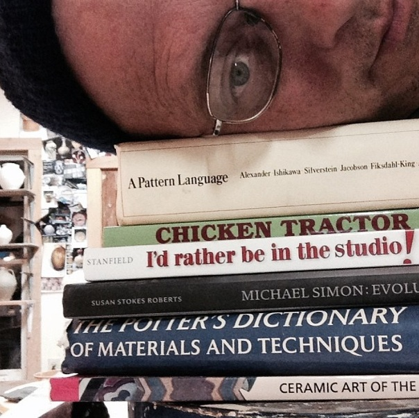 books in Michael Kline's studio