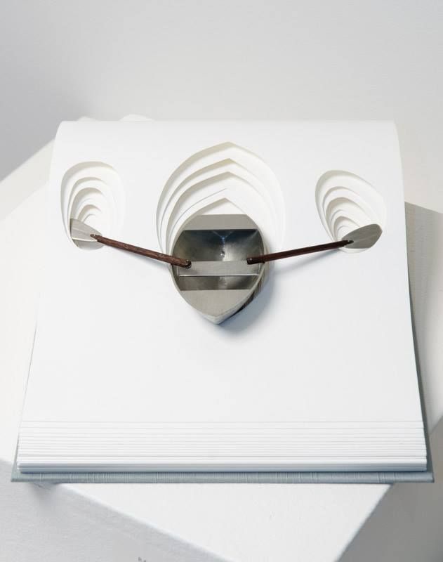 Rachel Mauser, We Will Find the Sea, cut paper, modified coptic binding, pewter, walnut