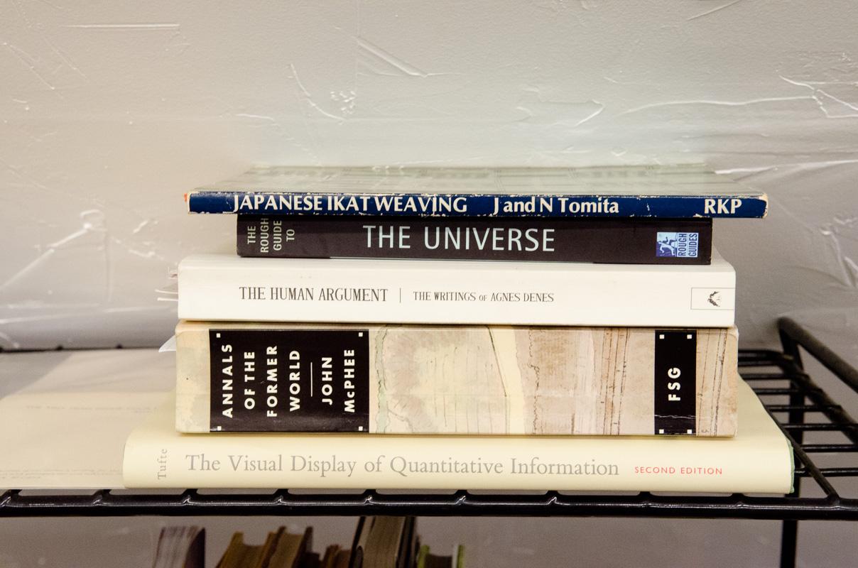 books in Robin Johnston's studio at Penland
