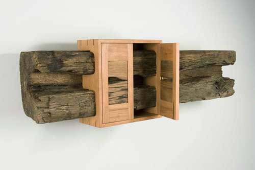 Tom Shields, Same on the Inside, railroad tie, cherry, 11 x 8 x 38 inches