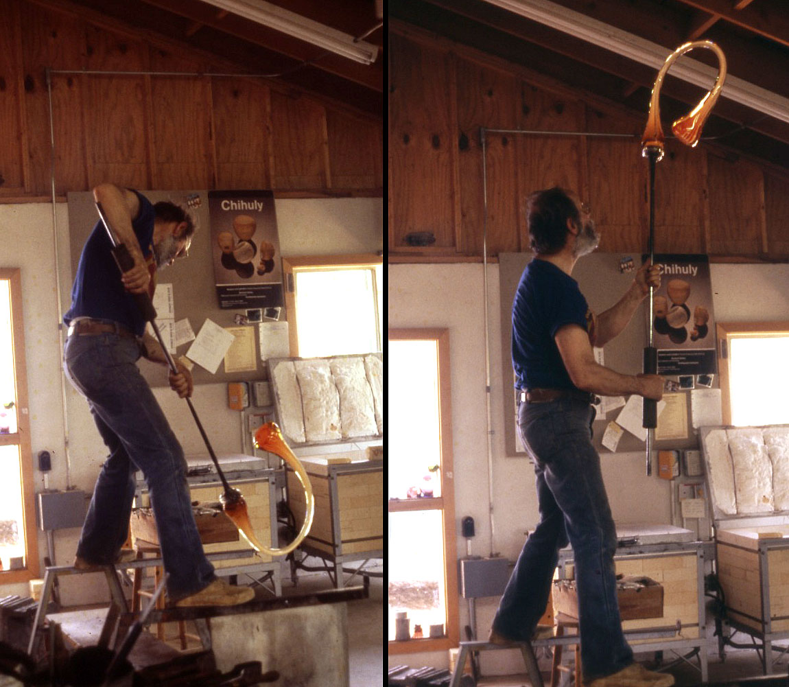 Harvey Littleton blowing glass at Penland School