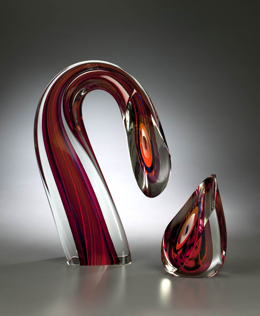 Harvey Littleton, Sliced Descending Forms, hot-worked and cased glass, cut, polished. From the collection of the Montreal Museum of Fine Arts