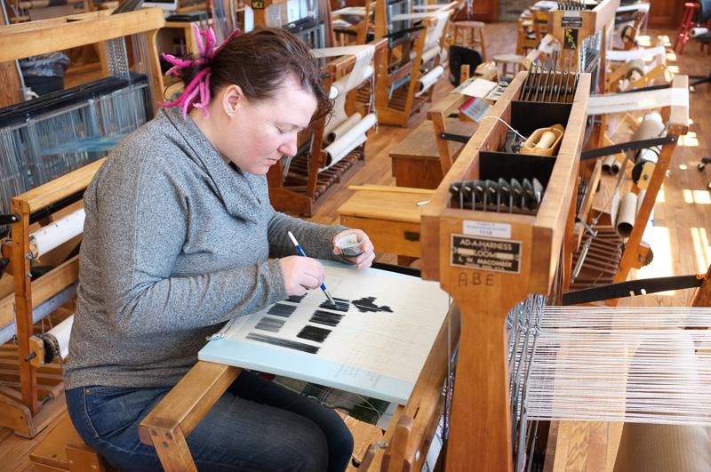 alke groppel-wegener painting a warp at Penland